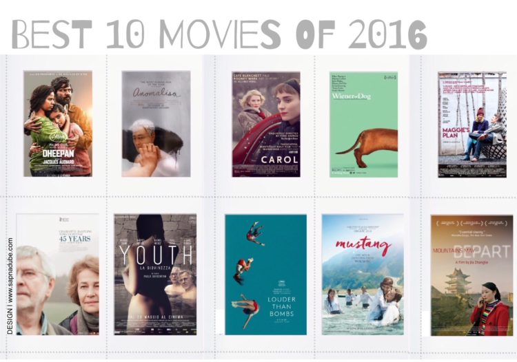 Best Movies of 2016, top ten movies of 2016
