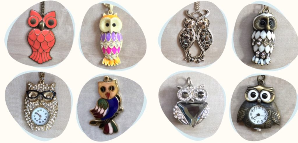 Owl symbolism, owl collection, owl collector, ULUKA, ULOOKA, Lakshmi's owl, Owl jewelry
